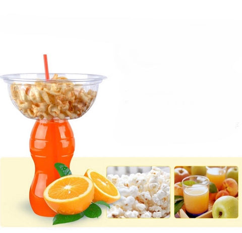 500ml 2-in-1 Juice with Snack Drink Plastic Bottle with Snack Compartment (10 per lot more)