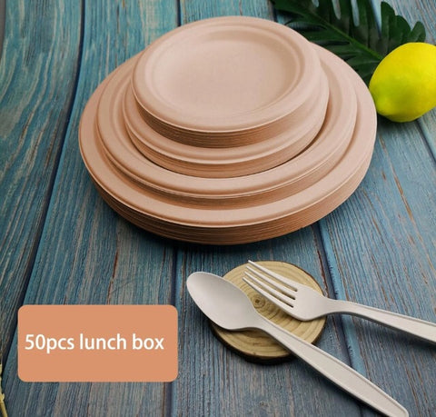 6/7/9 inches Bagasse Nature-Brown Serving Plate More Eco Anti oil (50 per lot)