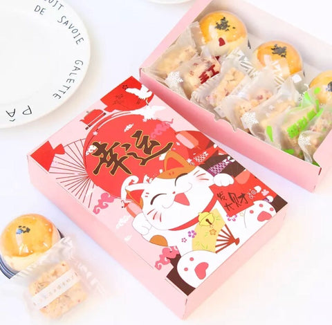 Lucky Fortune Cat Paper Box Packaging Mooncake more fits 6 Snowskin Mooncake Size (10 per lot)