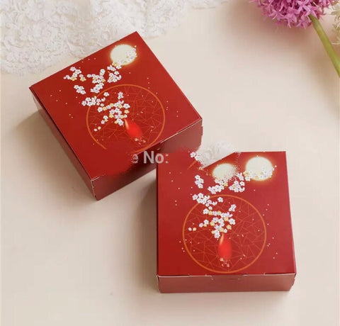 12*12*4.5cm Fits 4 Snowskin or 1 Regular Mooncake more Designer Packaging Box Handle Cookie Hand Gift Printed Red Pattern Chang Er Moon (200 per lot)