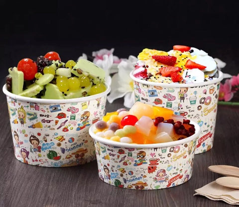 400/500/600ml Kraft Bowl for Ice Cream Dessert Snack Yoghurt Fried Food chicken with Lid bowl more (100 per lot)