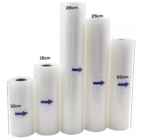 12/15/20/25/28cm * 500cm 1 roll Vacuum Seal Packing Food Bags for heat seal plastic film bag teflon kitchen tool storage machines device bags (1 roll per lot)