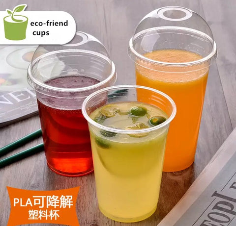 400/500/600ml Compostable PLA Cups 100% Degradable Biodegradable Drinks more (100 per lot)