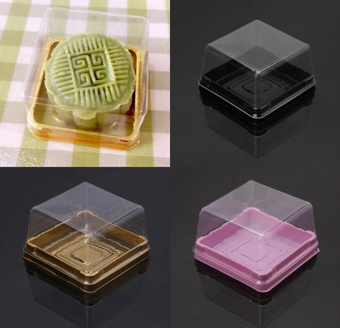 80g/7*7*4cm Snowskin Mooncake Box Egg Yolk Pineapple Tarts Case with Lid 3 Colours mooncake more (50 per lot)