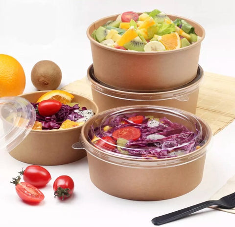 Kraft Paper Bowl with lid 4 sizes bento meal box bowl more salad soup disposable Bowl more  (50 per lot)