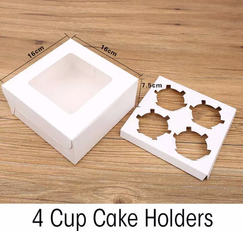 Cupcakes: 4 Holder White / Brown Kraft (50 per lot)