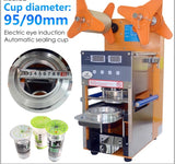 1x Automated Bubble Tea Seal Cup Machine Stainless Steel Boba Tapioca Pearl Device Automatic  Cup Diameter 95mm Device (1 per lot)