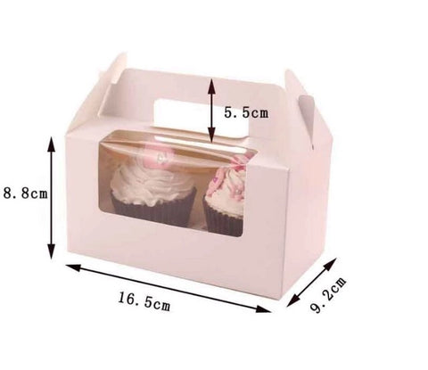 2 Holder Colour Paper Boxes with Display Carrier No need for plastic bags save ecofriendly nowaste Cakes Tarts Cupcakes Dessert Sweet Bakery More (120 per lot)