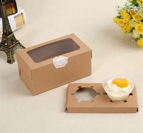 CUPCAKES: White / Brown Paper Box with Window Paper more (500 per lot)