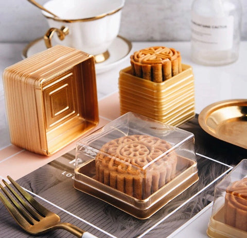 50/100g Snowskin / Regular Golden Mooncake Box Egg Yolk Pineapple Tarts Gold Case with Lid mooncake more (100 per lot)