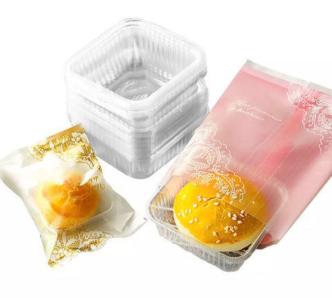50/80/100g Dual ALL-in-1 Mooncake Bags Patterned Designer Printed+Trays 100 each Box with Pouch plastic Packaging 3 sizes Snowskin and Regular Mooncake more (100 per lot)
