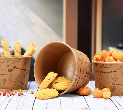 450/500/850ml Kraft Bowl in Brown Paper Patterned for Ice Cream Dessert Snack Yoghurt Fried Food chicken in 3 sizes bowl more (200 per lot)