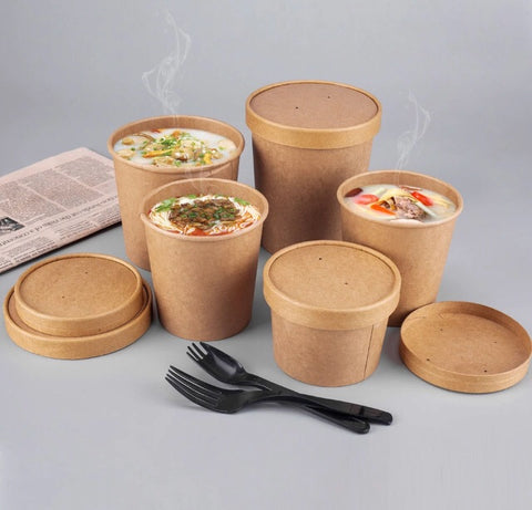 250-1000ml Kraft Bowls with Lids in Double Wall Insulation Ice Cream Soups Desserts Fried Food Cakes Paper 5 sizes Eco More bowl more (100 per lot)