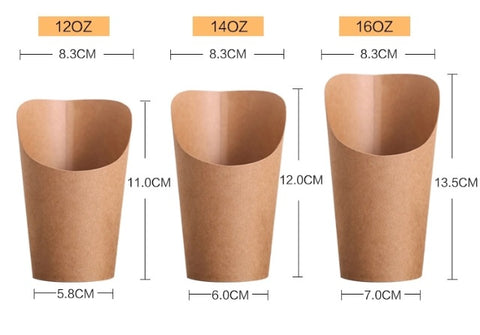 Cone Holder White / Brown Kraft Flat / Shape Ends (100/500/1000 per lot)