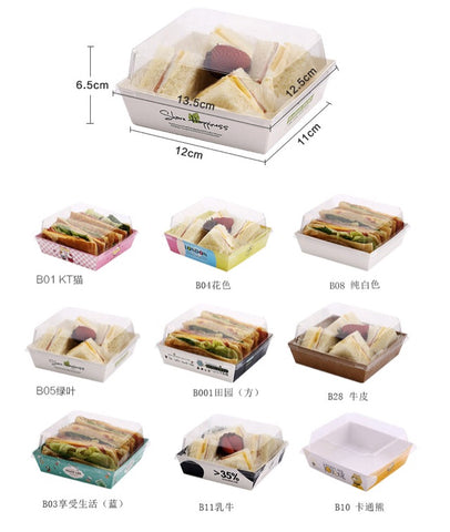 Rectangular / Square Designer Paper Boxes with Matching Lid Display Bread Sandwiches Fried Food Cakes Tarts Cupcakes Dessert Sweet Bakery More (100 per lot)