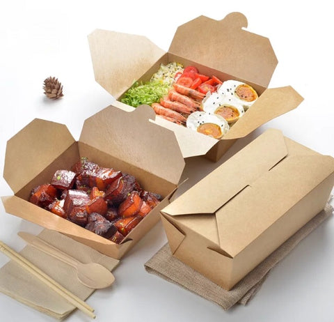 Rectangular Meal Bento in Kraft 7 sizes Eco more (100 per lot)