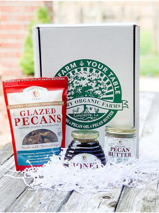 Gift Box #11: 8oz Pecan Butter, 12oz Local Honey, 12oz Glazed Pecans - Guidry Organic Farms