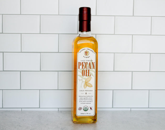 *CLOSEOUT SALE* Pecan Oil 500ml - USDA Certified Organic & Heart Healthy Oil - Guidry Organic Farms
