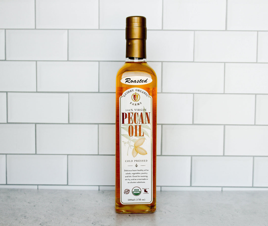 *CLOSEOUT SALE* NEW Roasted Pecan Oil 500ml - USDA Certified Organic & Heart Healthy Oil - Guidry Organic Farms