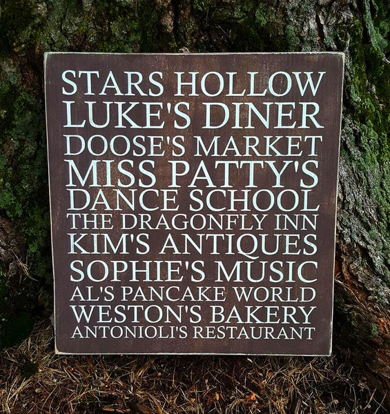 Stars Hollow Subway Art wood sign