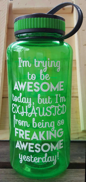 Trying To Be Awesome... 34 Ounce Wide Mouth Water Tracker Bottle - Kelly Belly Boo-tique  - 1