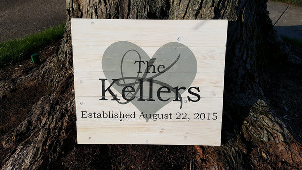 Heart & Initial Established pallet sign - Kelly Belly Boo-tique