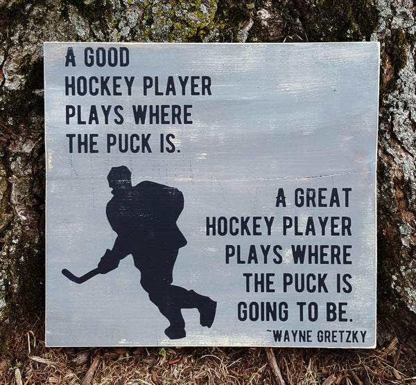 Good/Great Hockey Player wood sign - Kelly Belly Boo-tique