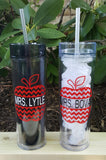 Chevron Apple Teacher 16 ounce skinny acrylic tumbler - Kelly Belly Boo-tique  - 1