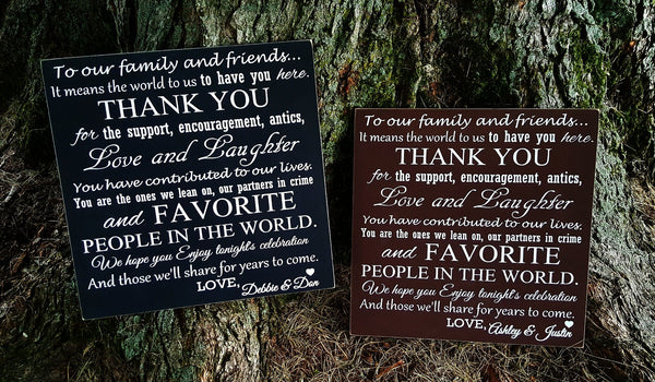 Wedding/Anniversary Guest Thank You sign