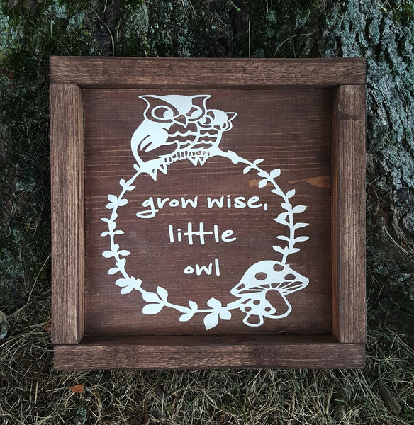 Be Wise Little Owl framed sign - Kelly Belly Boo-tique