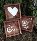 Love - Dream - Wish framed sign