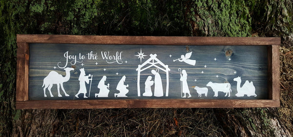 Joy To The World Nativity frame wood sign - Kelly Belly Boo-tique