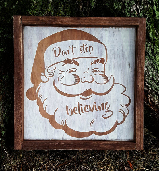 Don't Stop Believing Vintage Santa framed wood sign - Kelly Belly Boo-tique