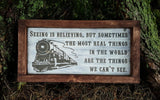 Seeing Is Believing Polar Express framed wood sign - Kelly Belly Boo-tique