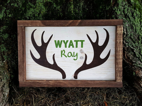 Antlers With Name framed wood sign