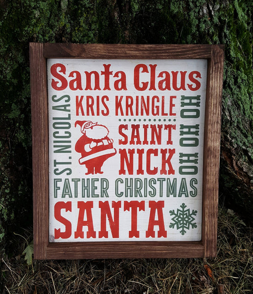 Santa Christmas Subway Art framed sign