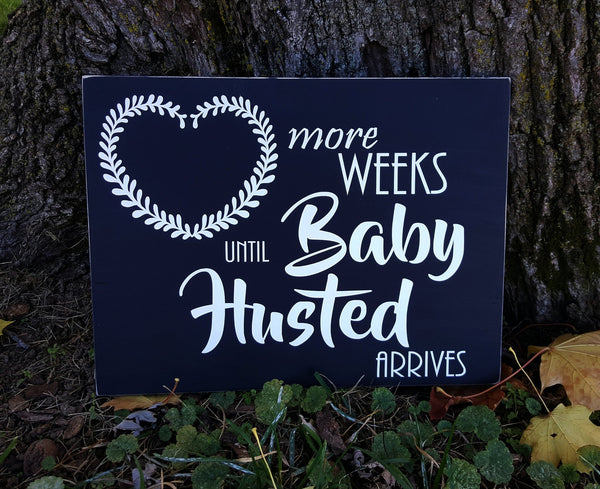 Weeks Until Baby Arrives Photo Prop personalized chalkboard sign