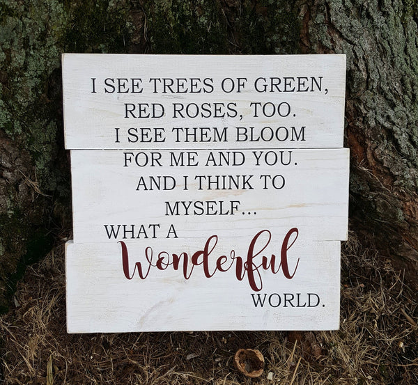 What A Wonderful World wood pallet sign