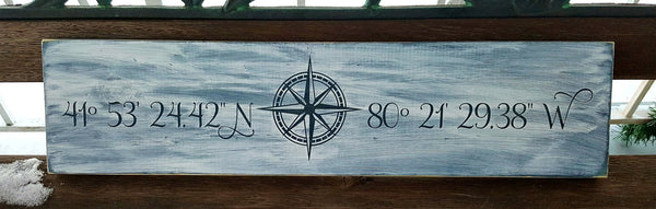 Latitude/Longitude GPS Coordinate wood sign