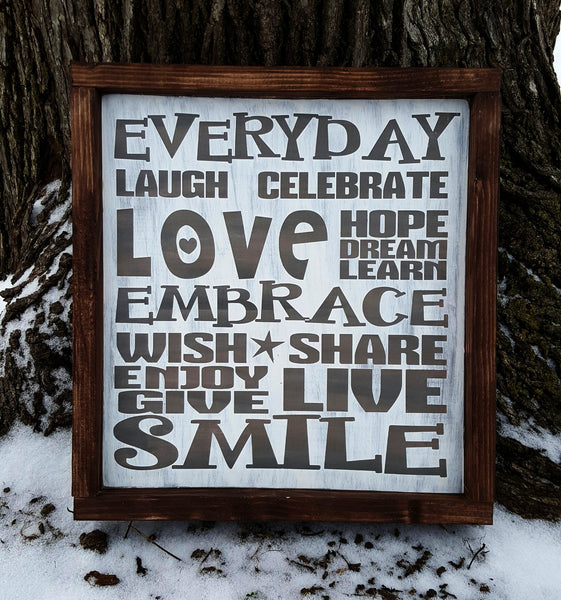 Everyday Celebrate subway style framed wood sign