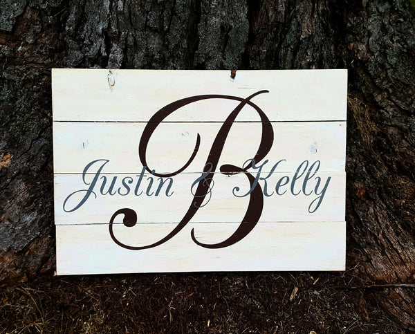 Last Name Initial With First Names pallet sign