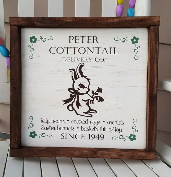 Peter Cottontail Vintage Easter framed wood sign