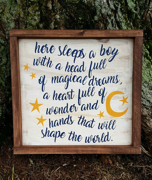 Here Sleeps A Boy framed wood sign