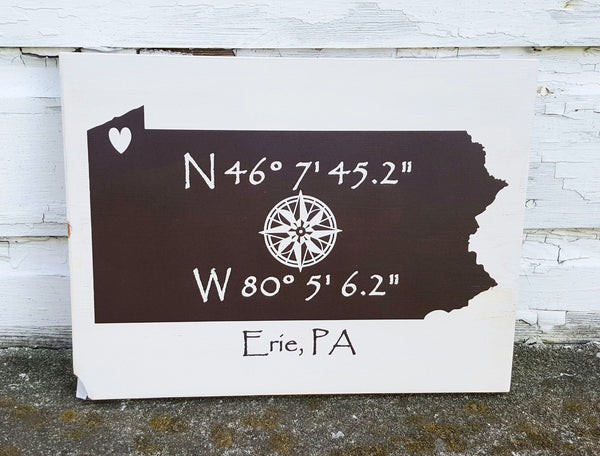 Erie, PA GPS Coordinates wood sign #MYERIE