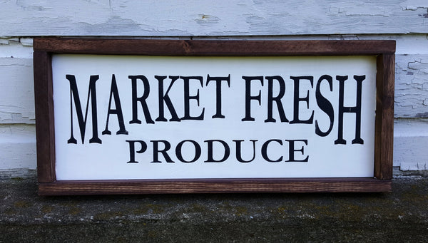 Market Fresh framed wood sign