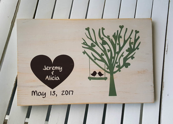 Love Birds In A Tree Swing personalized wood sign
