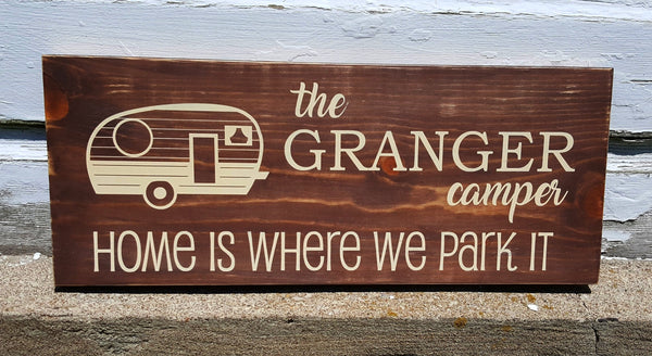 Home Is Where We Park It Camper wood sign with Personalization