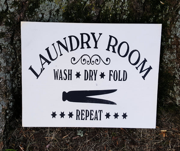 Laundry Room Wash Dry Fold Repeat wood sign