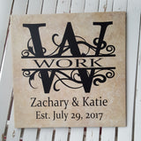 "12"" x 12"" Split Flourish Letter Name and Established Date ceramic tile"