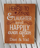 Here's To Love & Laughter And Happily Ever After sign